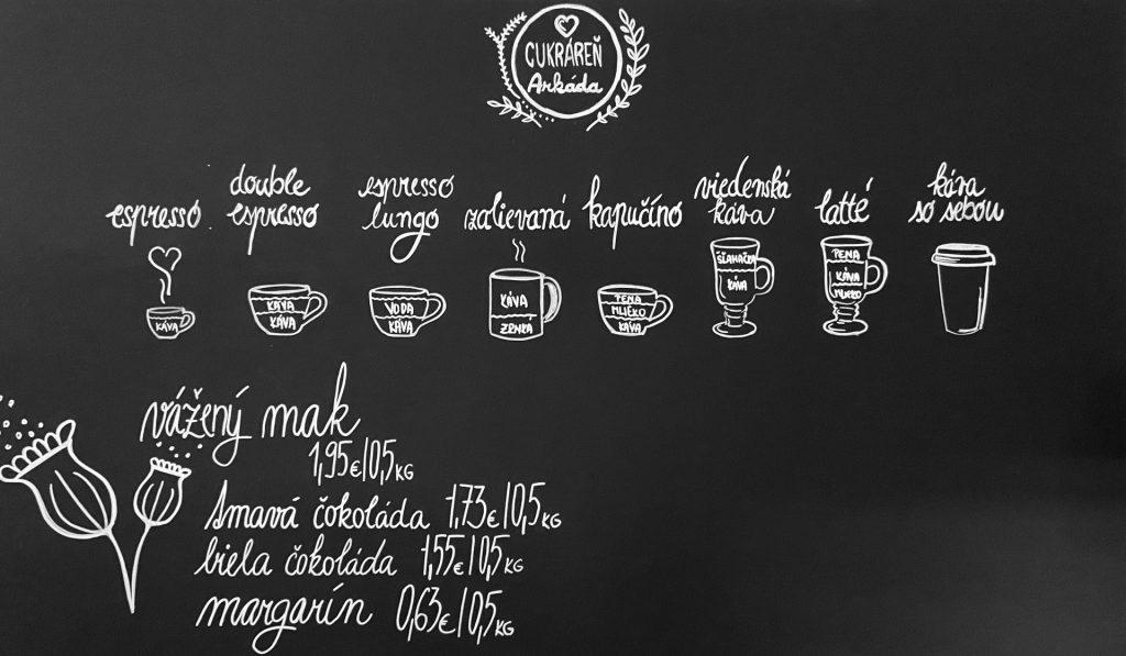 Čierna tabuľová stena v kaviarni, na ktorej je rozpísaná ponuka káv.