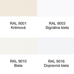 Rôzne odtiene bielej farby s presným číslom RAL.